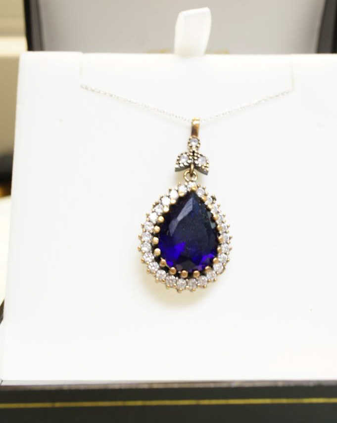 Sterling Sapphire Necklace