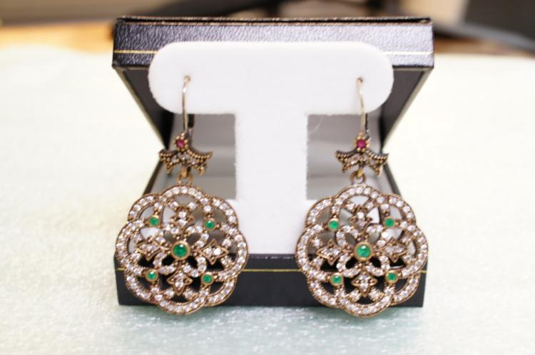 Turkish Earrings Ruby And Emerald