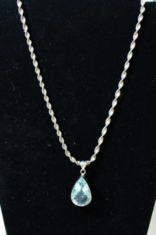 Sterling swirl necklace London blue Topaz