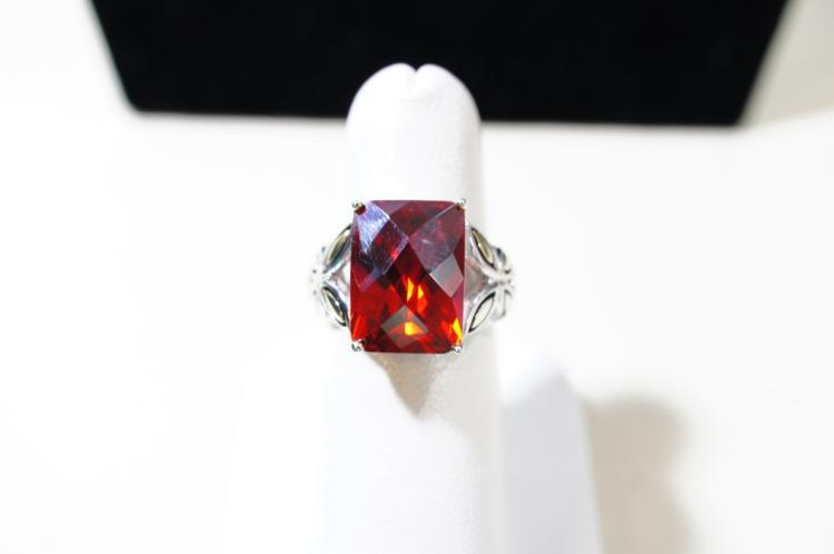 Gold over sterling checkerboard cut red Topaz