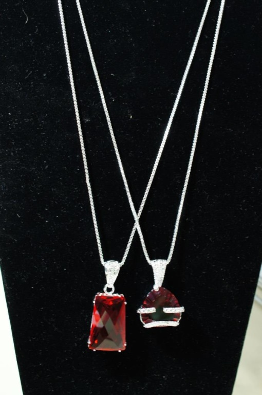 2 sterling red topaz necklace