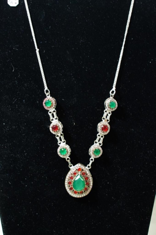 Turkish necklace sterling Rubys emerald white
