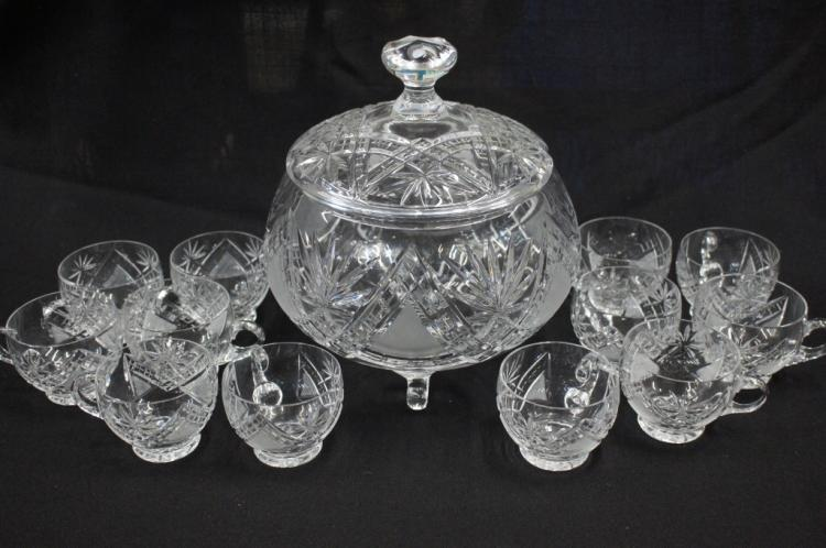 Cut Glass Punch Bowl And Cups