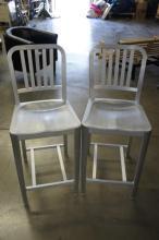 Pair Of Silver Metal Barstools
