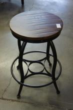 Wooden Top Swivel Barstool