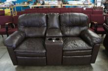 Leather Love Seat With Storage & Cup Holders