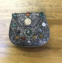 Metal Clutch With Polished Stones