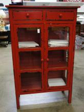 Distressed Red Cabinet With 2 Drawers