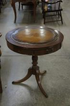 Leather Top Round Lamp Table