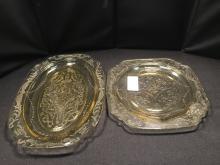 Yellow Depression Glass Platter & Small Plate
