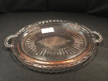 Pink Depression Glass Serving Platter