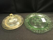 Depression Glass- Yellow Covered Dish &green Plate