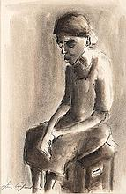 Iris Ampenberger (South African 1916-1981) VROU WAT SIT signed charcoal and
