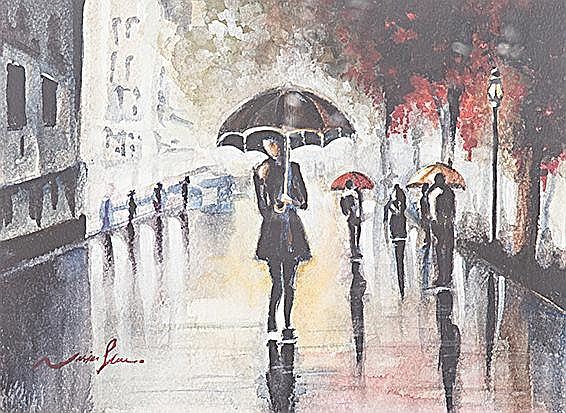 Nasim Shams Bijari (Iranian 1981-) LONDON RAINY DAY signed watercolour on p