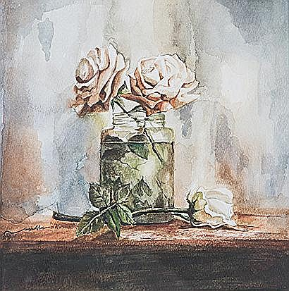 Nasim Shams Bijari (Iranian 1981-) ROSES STILL LIFE signed watercolour on p