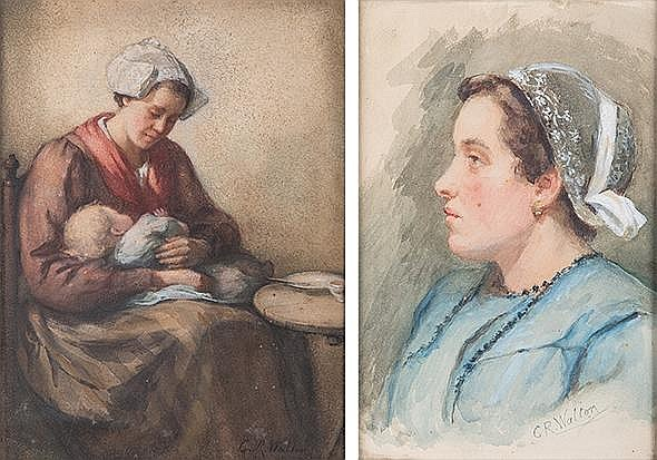 Catherine Walton (British 1898-1935) PORTRAIT and MOTHER AND CHILD, two each signed watercolour on paper 26 by 17cm and 32 by 24cm (2)
