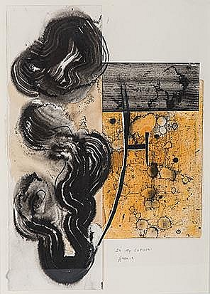 Angel Haro (Spanish 1958-) IN MY GARDEN VI signed and dated 12 mixed media and collage on paper 70 by 50cm