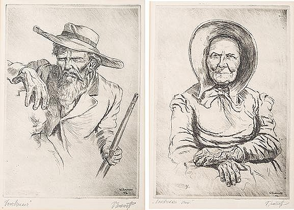 Victor Archipovich Ivanoff (South African 1909-1988) VOORTREKKER WOMAN and VOORTREKKER, two etching, each signed and inscribed with the title, signed and dated 42 in the plate sheet sizes: 30 by 21cm (2)