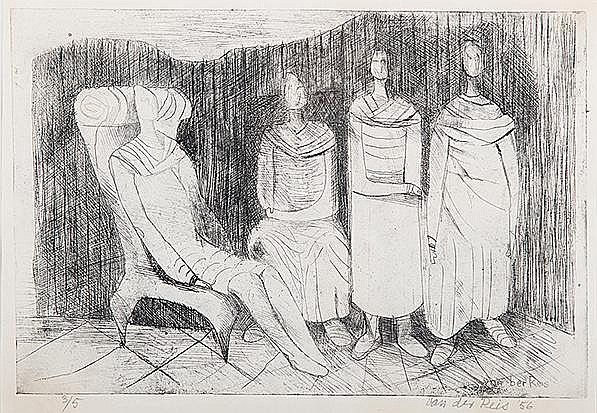 Gunther van der Reis (South African 1927-) CONVERSATION drypoint, signed, dated '56 and numbered 3/5 in pencil in the margin, signed in the plate sheet size: 27 by 38cm