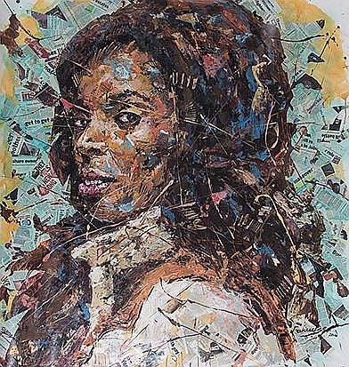 Mbongeni Fakudze (Swazi 1982-) DARING THE MEDIA, TASHA SMITH signed and dated 2016; signed, dated and titled on the reverse mixed media on canvas 158 by 152cm