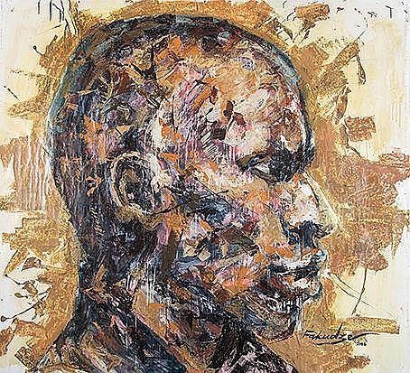 Mbongeni Fakudze (Swazi 1982-) RUMINATIONS signed and dated 16 mixed media on canvas 143 by 155cm