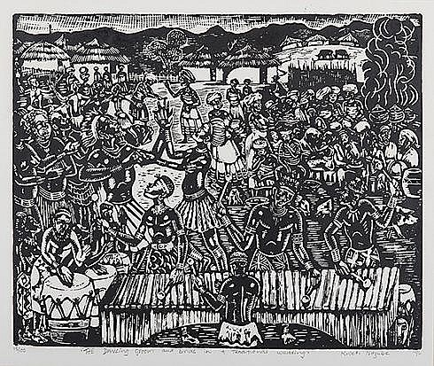 Kweti Ndzube (South African 1943-) THE DANCING GROOM AND BRIDE IN A TRADITIONAL WEDDING linocut, signed, dated 96 and numbered 18/100 in pencil in the margin sheet size: 60 by 70cm