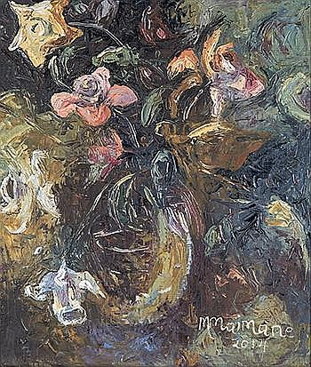 Michael Maimane (South African 1961-) STILL LIFE signed and dated 2014 oil on canvas laid down on board 52 by 44cm