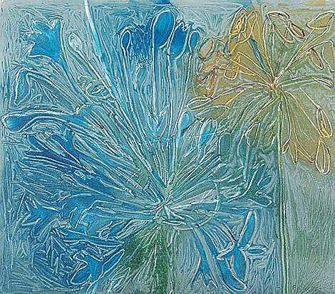Bronwen Findlay (South African 1953-) AGAPANTHUS IV monotype, signed, dated 2011, inscribed with the title and numbered 1/1 in pencil sheet size: 34,5 by 39,5cm
