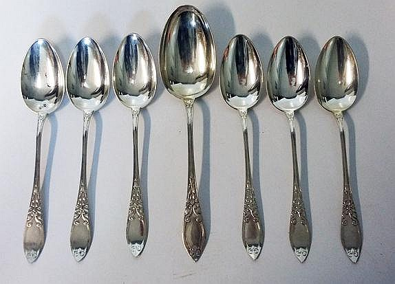 SEVEN DANISH SILVER SPOONS comprising: 6 tablespoo