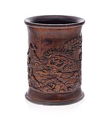 A CHINESE CARVED BAMBOO BRUSH POT, 19TH CENTURY ca