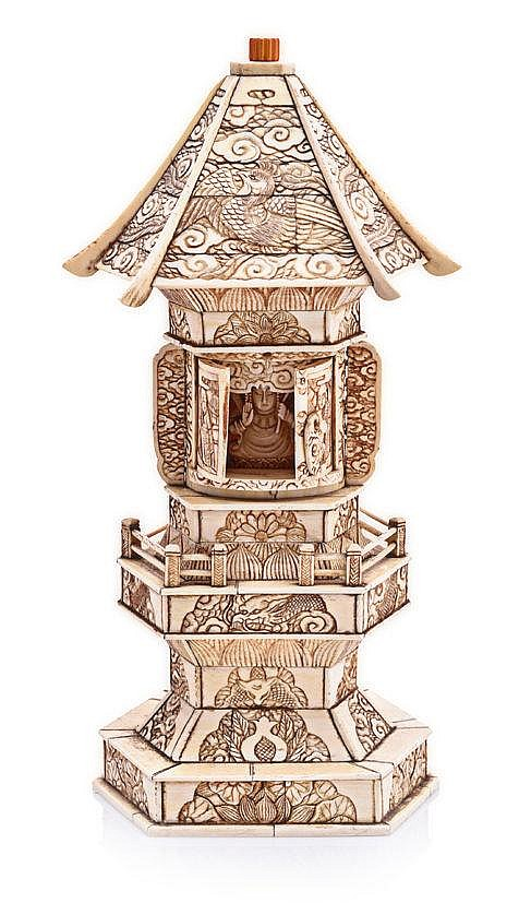 A JAPANESE IVORY AND BONE TRAVELLING SHRINE, LATE