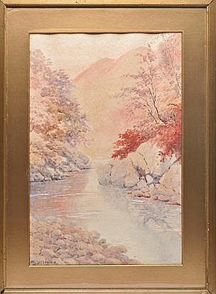 A JAPANESE WATERCOLOUR PAINTING BY A. YOSHIDA, EAR