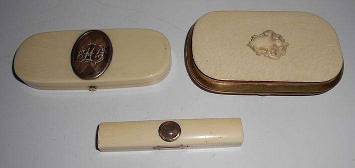 TWO GEORGIAN METAL-MOUNTED IVORY TOOTHPICK CASES,