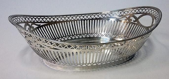A DUTCH SILVER TWO-HANDLED BASKET, 1954, .833 STAN