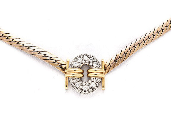 A 9CT GOLD AND DIAMOND NECKLACE composed of rose gold herringbone link chai