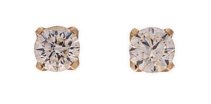 A PAIR OF DIAMOND EAR STUDS each claw-set with a round brilliant-cut diamon