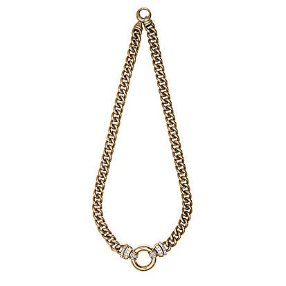 A 9CT GOLD AND DIAMOND NECKLACE, JENNA CLIFFORD the curb-link chain, centre
