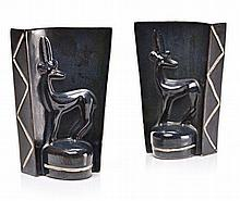 A PAIR OF ART DECO BOOKENDS, 1950s each tapering s