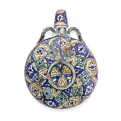A TURKISH MAJOLICA PILGRIM'S FLASK, 18TH CENTURY o