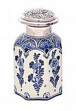 A DUTCH DELFT SILVER-MOUNTED TEA CADDY AND COVER,