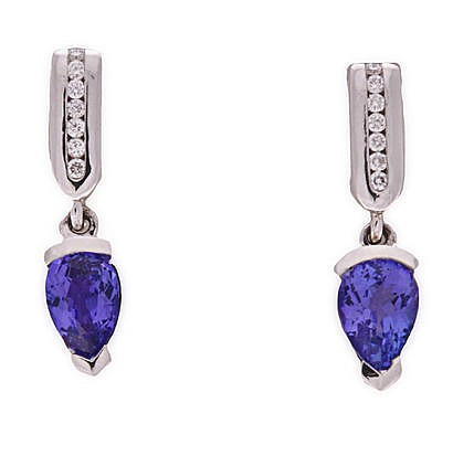 A PAIR OF TANZANITE AND DIAMOND PENDANT EARRINGS each rectangular surmount