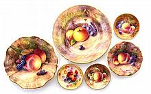 A GROUP OF SIX ROYAL WORCESTER FRUIT-PAINTED WARES