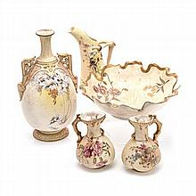 A GROUP OF FIVE ROYAL WORCESTER BLUSH IVORY WARES