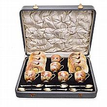 A CASED SET OF SIX ROYAL WORCESTER DEMITASSE AND S