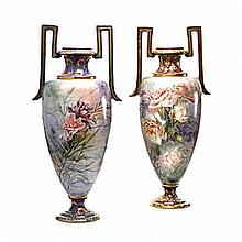 A PAIR OF LARGE ART NOUVEAU EARTHENWARE TWO-HANDLE