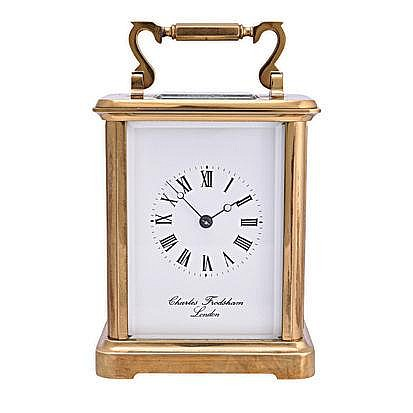 AN ENGLISH BRASS EIGHT-DAY CARRIAGE CLOCK, CHARLES