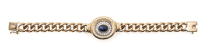A SAPPHIRE AND DIAMOND BRACELET, JENNA CLIFFORD centred with a bezel-set ca