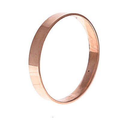 A 9CT ROSE GOLD BANGLE of plain form, impressed 9ct, inner diameter approxi