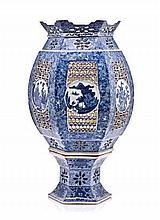 A CHINESE BLUE AND WHITE RETICULATED TABLE LANTERN