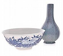A CHINESE BLUE AND WHITE BOWL, LATE 19TH CENTURY t